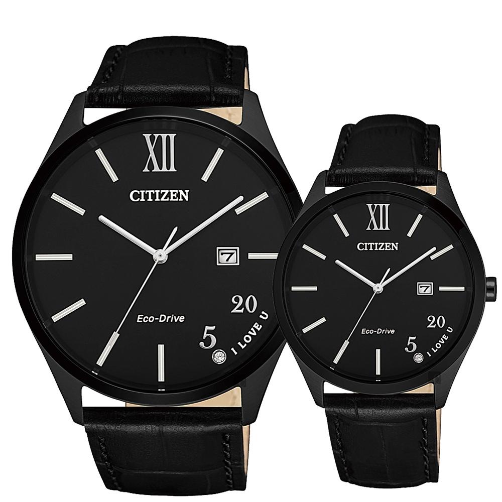 CITIZEN 星辰 光動能520 情侶手錶-BM7357-10E+EW2457-18E