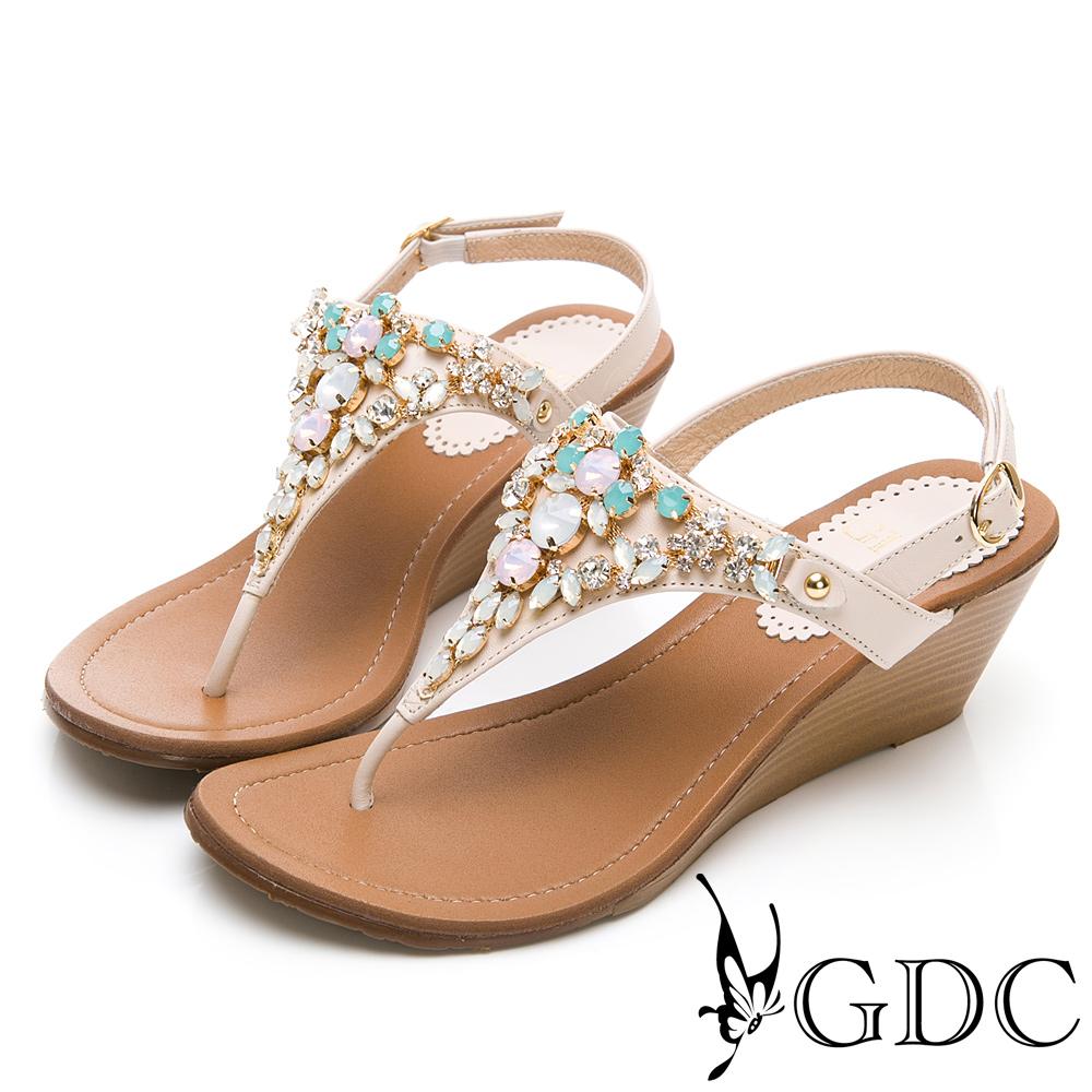 GDC-夏意瀰漫水鑽小花寶石楔型後帶涼鞋-米色