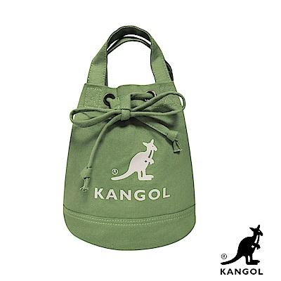 KANGOL 韓版玩色系列-帆布斜背水桶包-草綠KGC1214