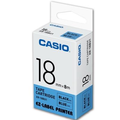 CASIO 標籤機專用色帶-18mm【共有9色】藍底黑字-XR-18BU1