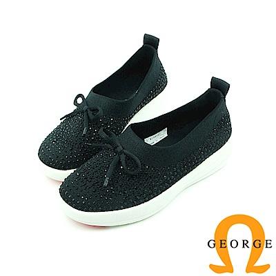 【GEORGE 喬治】舒適系列 蝴蝶結彈力水鑽休閒鞋-黑色