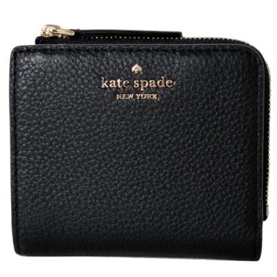 KATE SPADE 金屬字樣荔枝皮革扣式證件短夾-經典黑