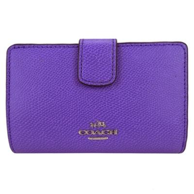 COACH 圓標素色防刮革多卡釦式中夾(紫)(展示品)