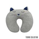 Yvonne Collection 貓咪造型頸部抱枕-淺灰