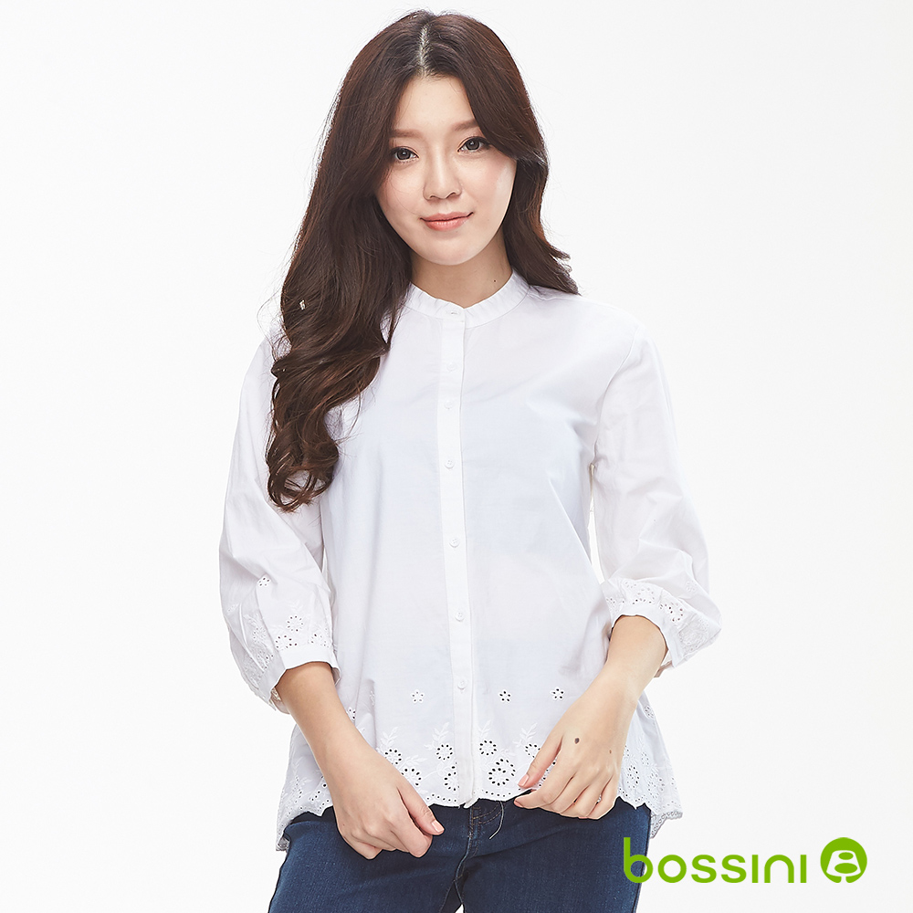 bossini女裝-無領七分袖襯衫02白