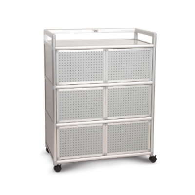 Cabini小飛象-黑花格3.0尺鋁合金6門收納櫃88.5x50.8x115.3cm