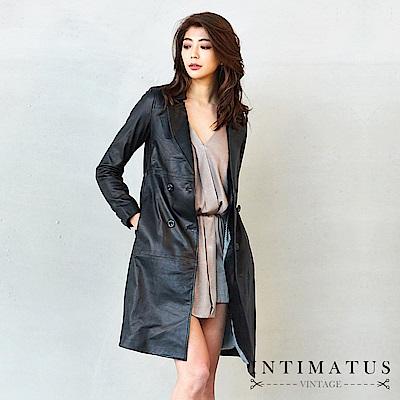 INTIMATUS真皮 雙排釦風衣款長版頂級小羊皮皮衣 經典黑