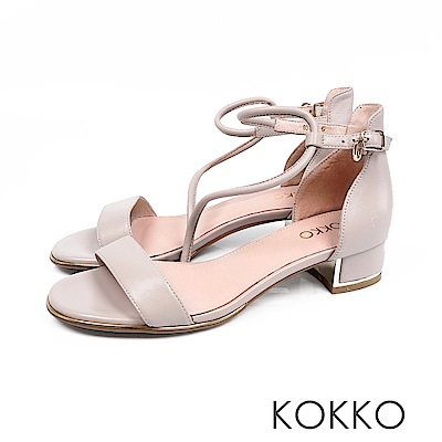 KOKKO - 東大門一字細帶真皮粗跟涼鞋 - 石灰
