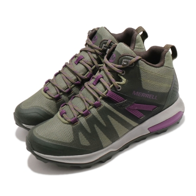 Merrell 戶外鞋 Zion FST Waterproof 女鞋 防水透氣 越野 中筒 登山 耐磨 抗菌防臭 綠紫 ML035400
