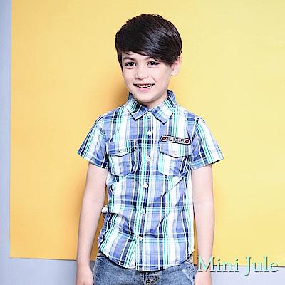 Mini Jule 上衣 雙口袋字母貼布短袖襯衫(綠)