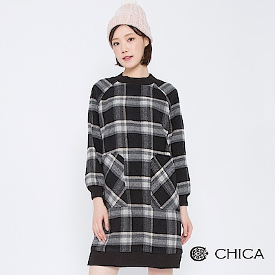 CHICA 走訪巴黎拼接口袋格紋洋裝(2色)
