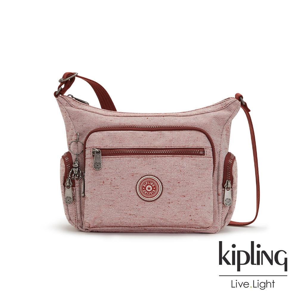 Kipling 蘋果紅佐斜紋設計多袋實用側背包-GABBIE S