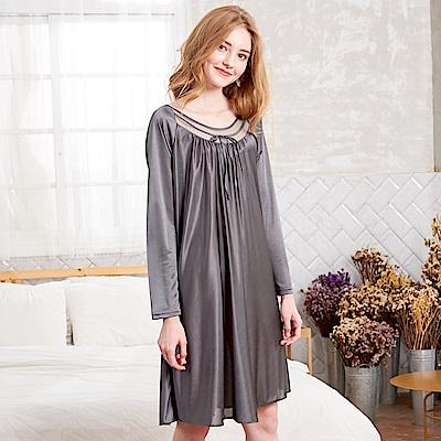 睡衣 彈性珍珠絲質 長袖連身睡衣(R55203-6灰色)台灣製造 蕾妮塔塔