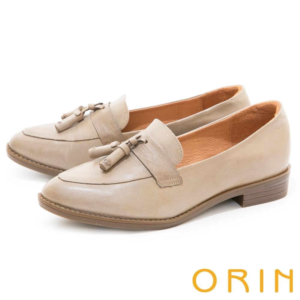 ORIN 復古縫線造型真皮樂福 女 低跟鞋 灰色