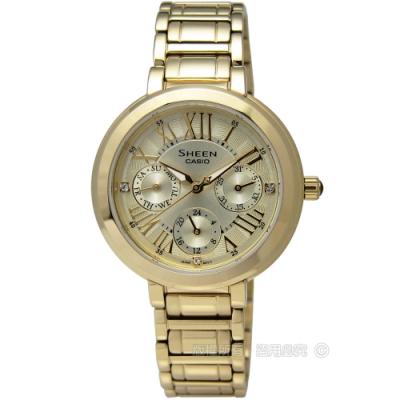 SHEEN CASIO 卡西歐 氣質典雅施華洛世奇水晶三環鍍金不鏽鋼腕錶-金色/34mm