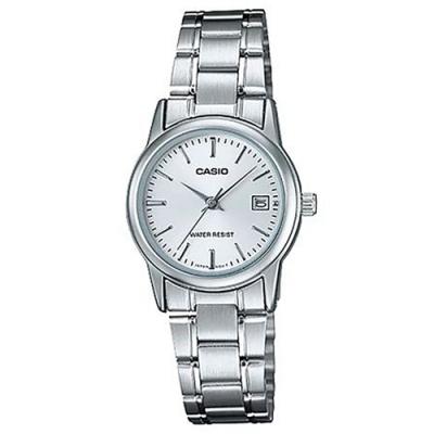 CASIO 實用錶款日期顯示點時刻不鏽鋼腕錶-丁字白面(LTP-V002D-7)/25mm