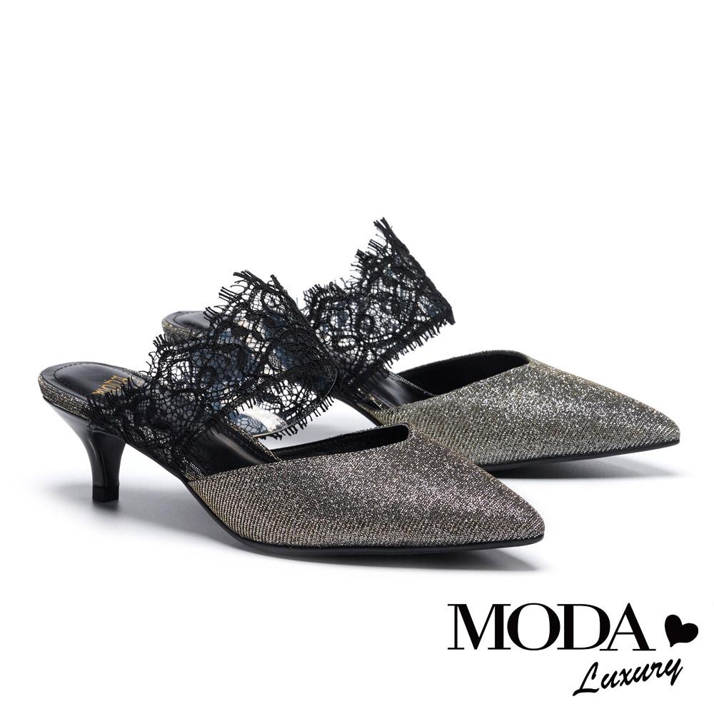 拖鞋 MODA Luxury 迷人雅緻蕾絲繫帶金蔥布尖頭穆勒高跟拖鞋-銀