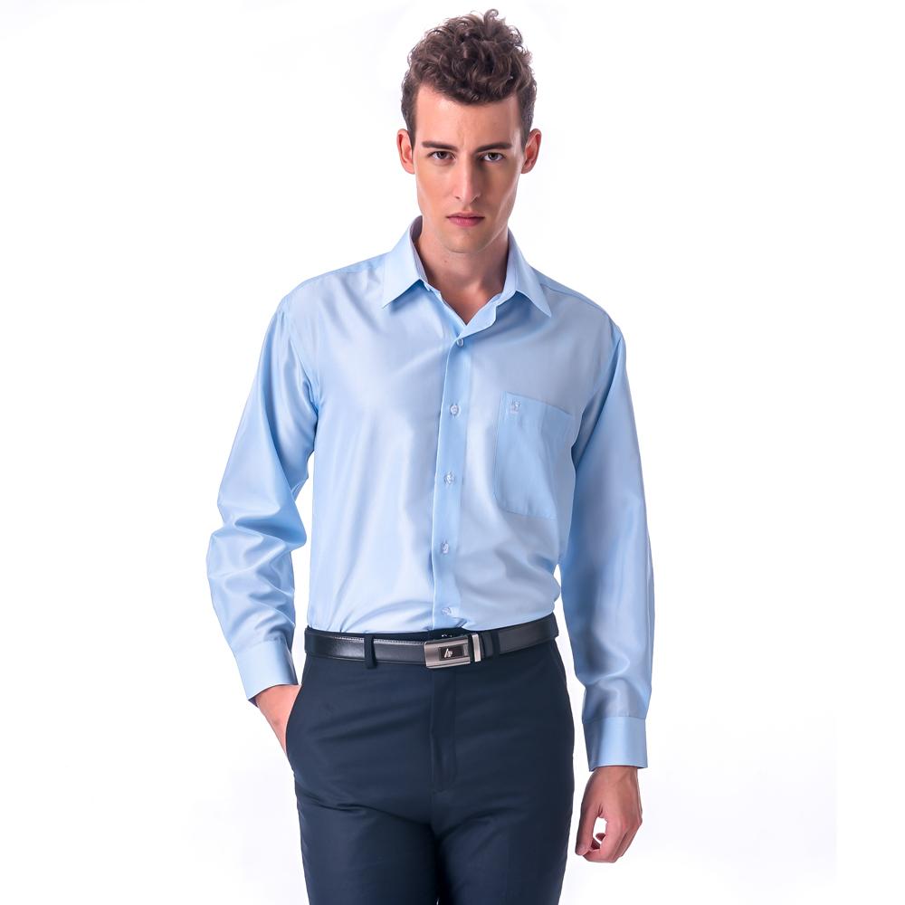 【金安德森】藍底細紋吸排窄版長袖襯衫