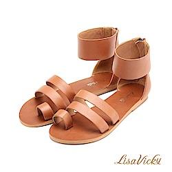 LisaVicky經典簡約一字繫踝後包羅馬平底涼鞋-紅棕色