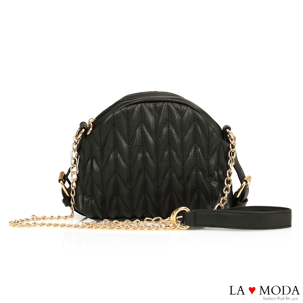 La Moda 完美小香風皮面車線創意設計肩背斜背鍊條包(黑)