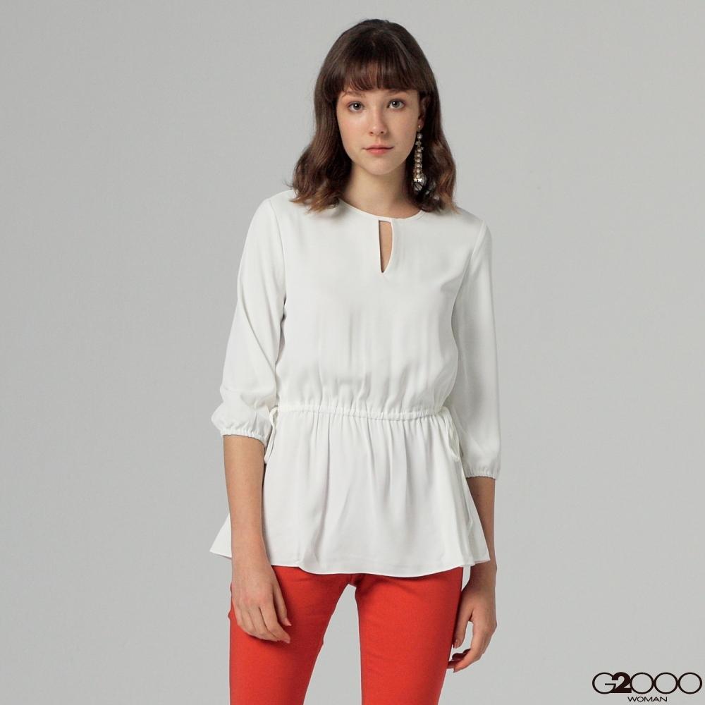 G2000素面長袖休閒上衣-白色