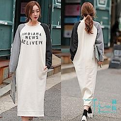Lockers 木櫃 秋冬韓版女裝印花拼接寬鬆長T恤