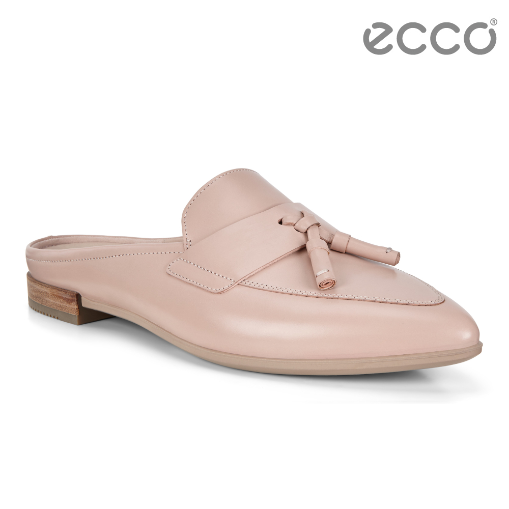 ECCO SHAPE 復古流蘇正裝穆勒平底鞋 女-裸粉色