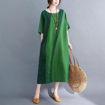 米蘭精品 連身裙短袖洋裝-圓領拼色棉麻過膝女裙子2色73xz14