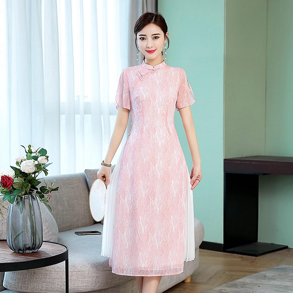 中式風雅粉色立領改良旗袍S-3XL-REKO