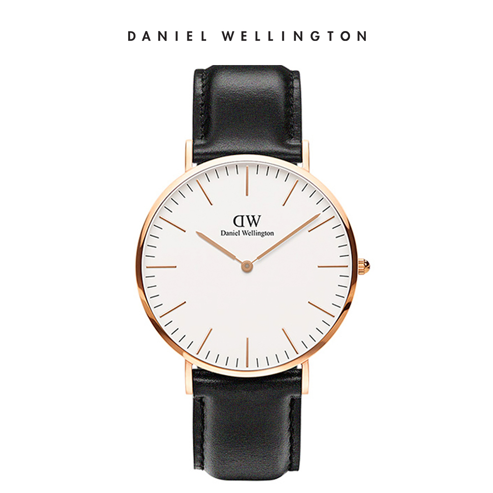 DW 手錶 官方旗艦店 40mm玫瑰金框 Classic 爵士黑真皮皮革錶