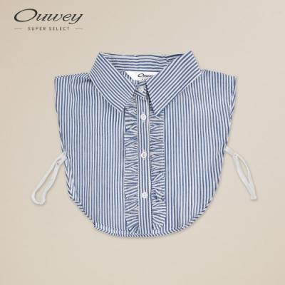 OUWEY歐薇 門襟荷葉滾邊條紋造型領片(藍)