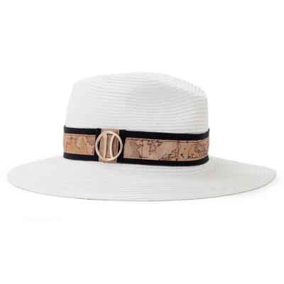 Alviero Martini 義大利地圖包 時尚LOGO編織草帽-白色