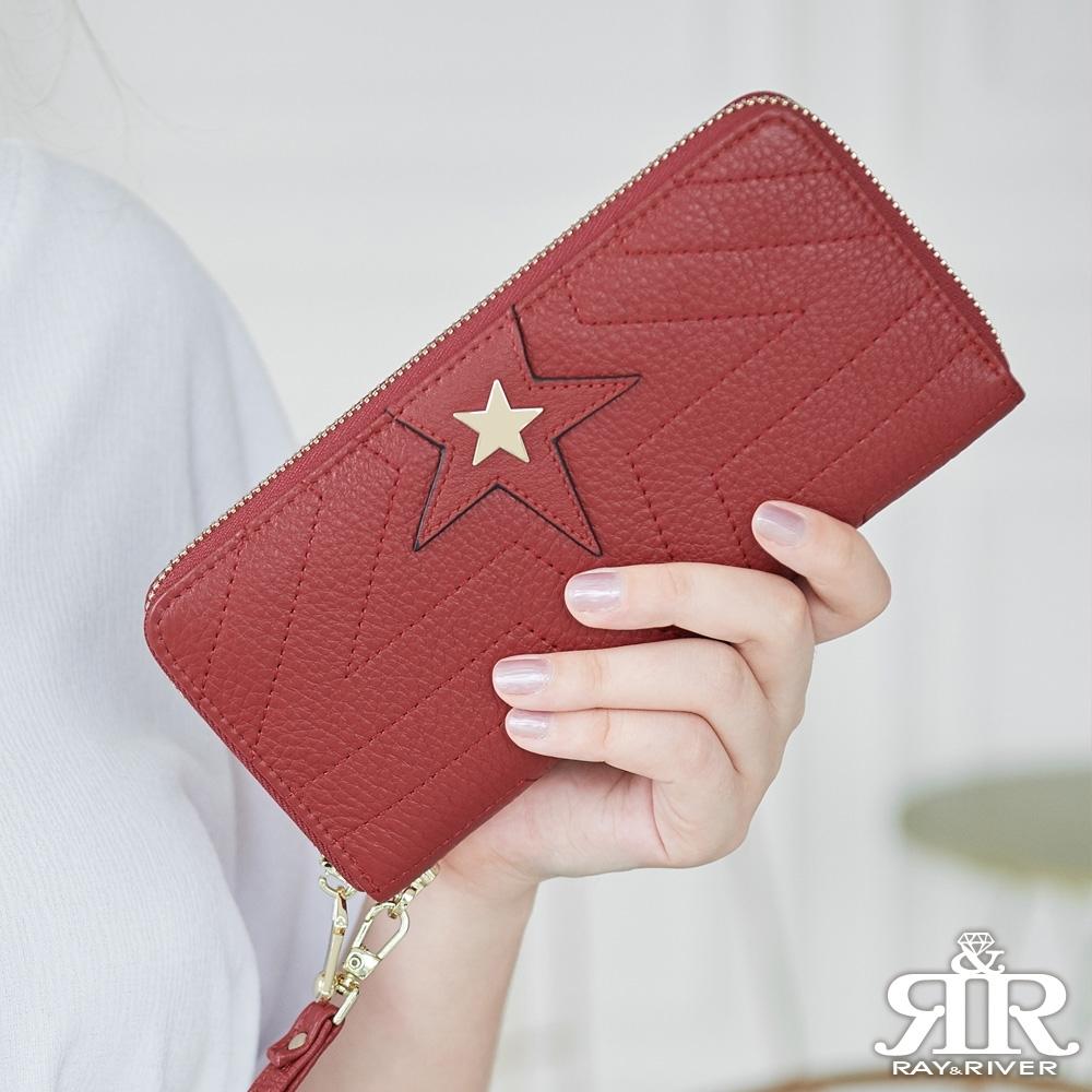 2R 荔紋牛皮 Starworld 星芒設計長夾 酒漾紅