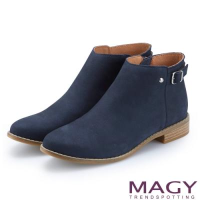MAGY 個性潮流 拉鍊式牛皮中性低跟踝靴-藍色