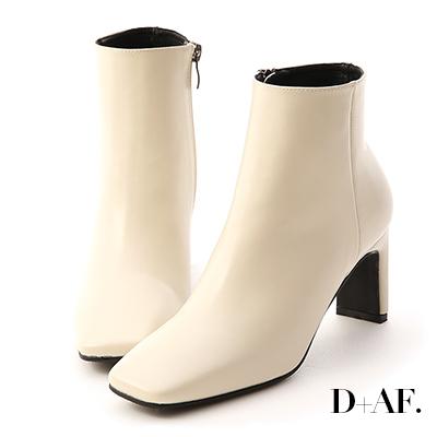 D+AF 美腿指標.復古方頭美型高跟短靴*白