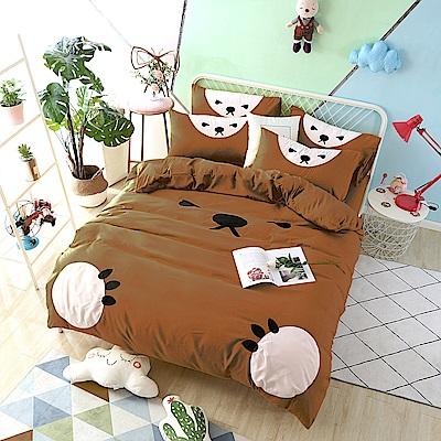 HUEI生活提案 柔絲絨被套床包四件組 雙人 熊愛睏咖