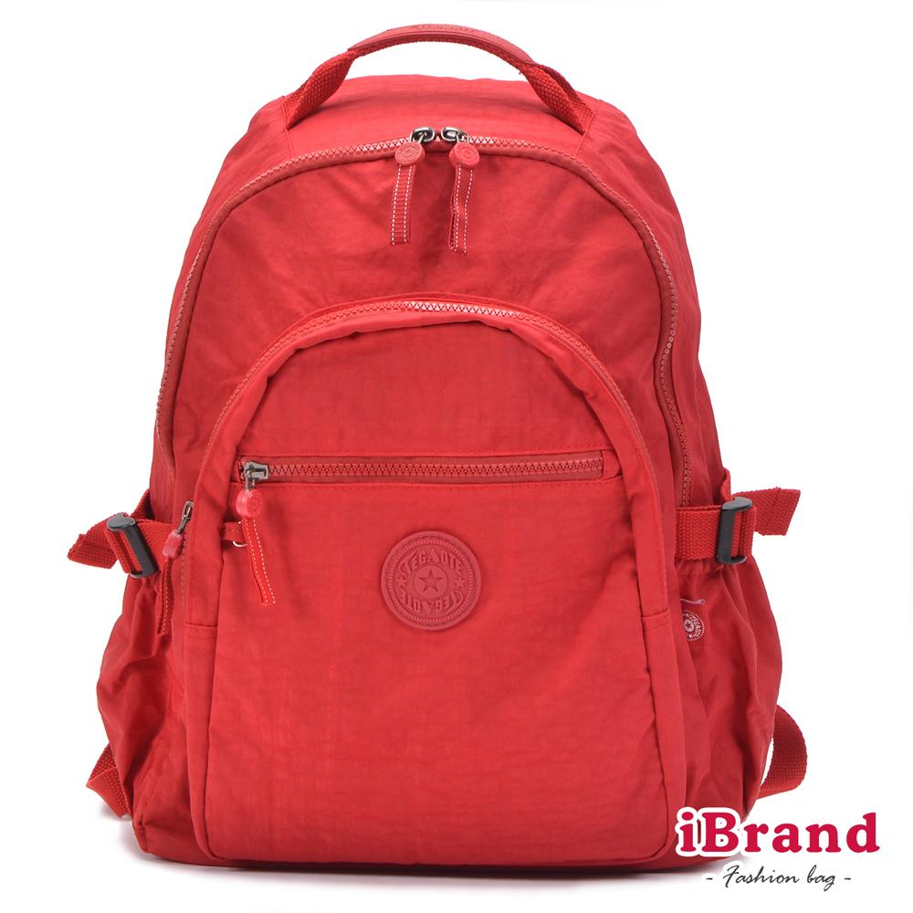 iBrand後背包 簡約素色超輕盈尼龍口袋後背包-質感紅
