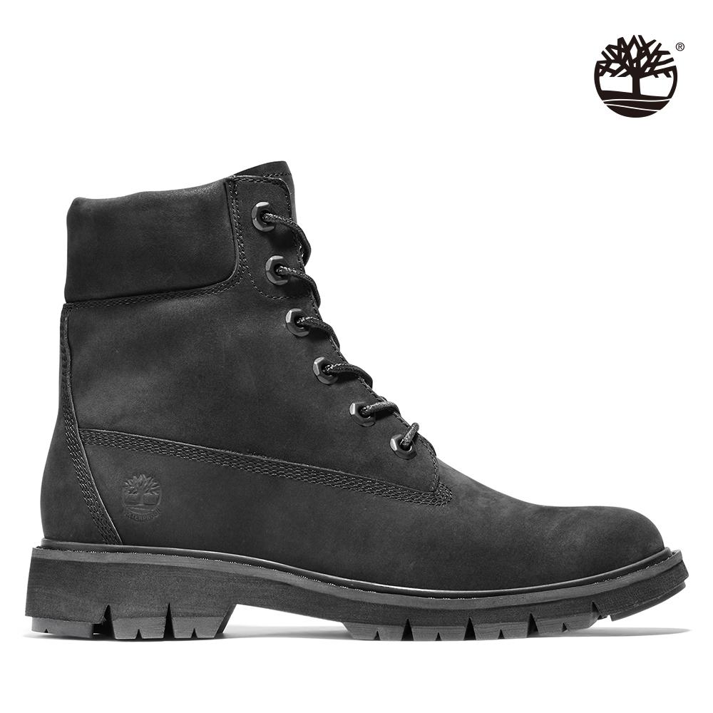 Timberland 女款黑色磨砂革樹型印花6吋靴 A1SC4