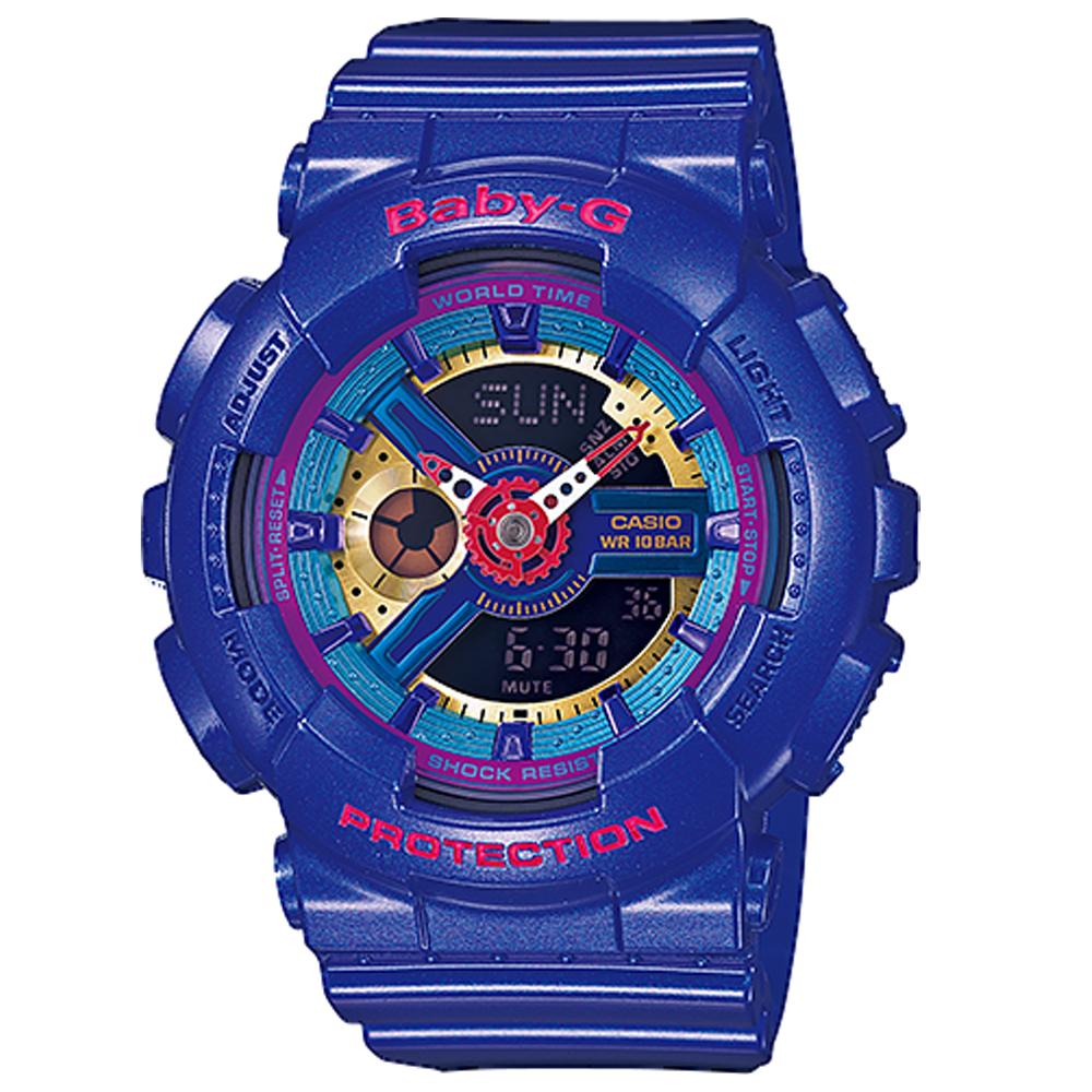 CASIO Baby-G 多層次搶眼運動雙顯錶 (BA-112-2A)-藍/46mm