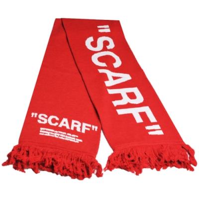 Off-White c/o Virgil Abloh 義大利製品牌風格混羊毛長圍巾(紅色)