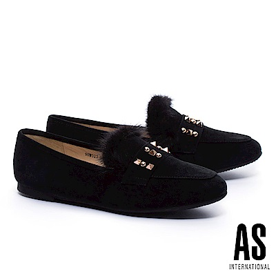 平底鞋 AS 暖意貂毛鉚釘造型樂福平底鞋-黑