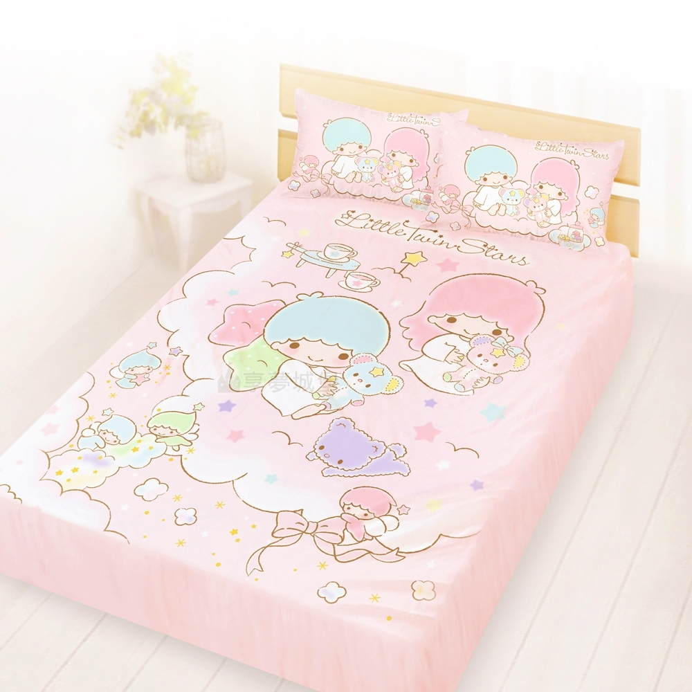 享夢城堡 精梳棉雙人床包枕套5x6.2三件組-雙星仙子Little Twin Stars 小熊扮家家-粉
