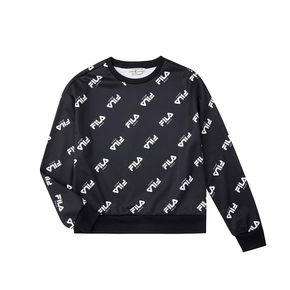 FILA 女吸濕排汗圓領T恤-黑色 5TEU-5491-BK