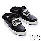 拖鞋 HELENE SPARK 奢華暖意水貂毛方鑽飾全真皮休閒拖鞋-黑