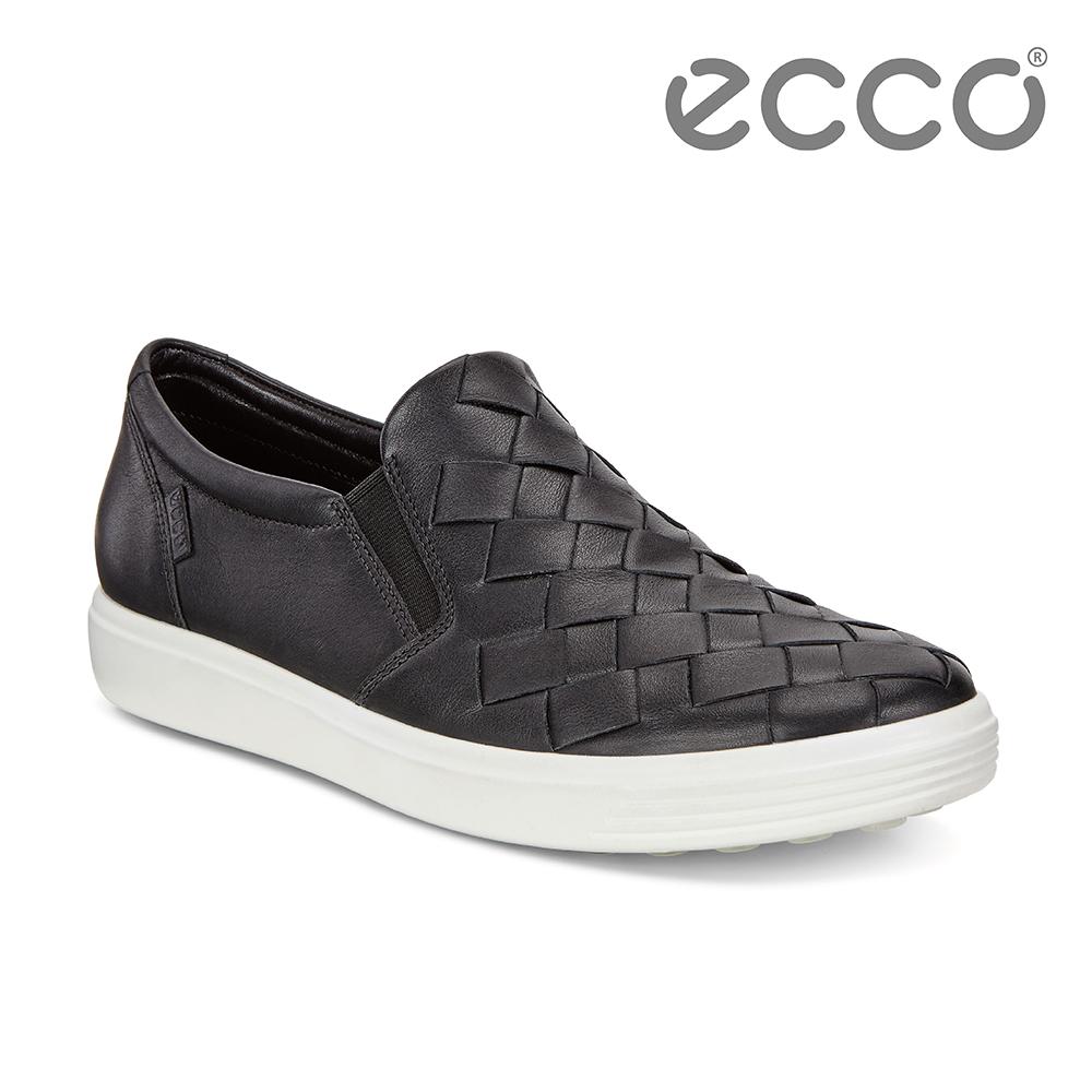 ECCO SOFT 7 W 編織素色輕盈套入式休閒鞋 女-黑