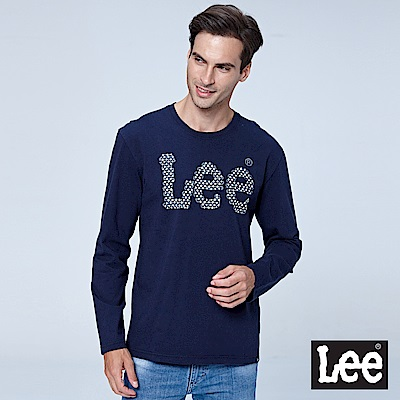Lee 編織LOGO長袖圓領Tee-丈青