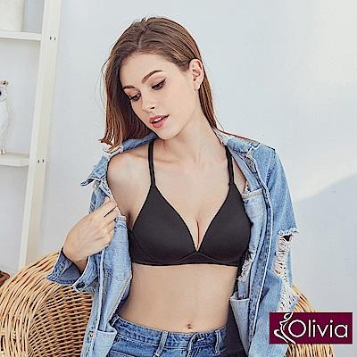 Olivia無鋼圈3D輕巧美背三角杯內衣-黑色