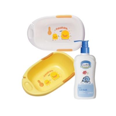 黃色小鴨雙色豪華型沐浴盆(白/黃)+貝恩Baan 嬰兒沐浴精/200ml*1