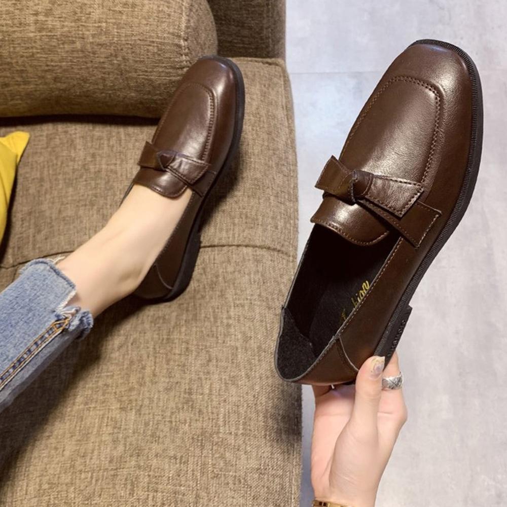 韓國KW美鞋館-(現貨)夏氛調皮活蝶結英倫風格小皮鞋(共1色) (棕色)