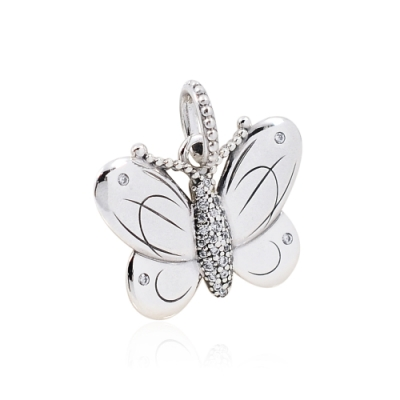 Pandora 潘朵拉 鑲鋯蝴蝶 垂墜純銀墜飾